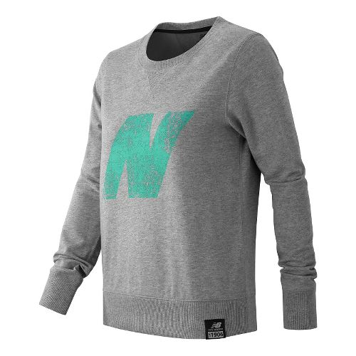 Womens New Balance Crewneck Sweater Hoodie & Sweatshirts Technical Tops - Athletic Grey L