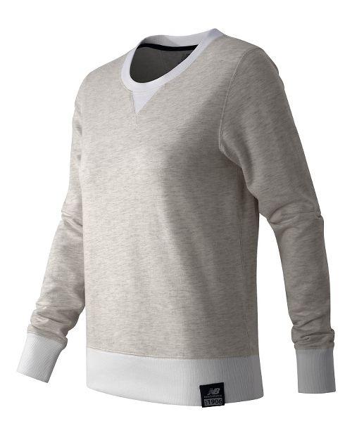 Womens New Balance Crewneck Sweater Hoodie & Sweatshirts Technical Tops - Sea Salt Heather XS