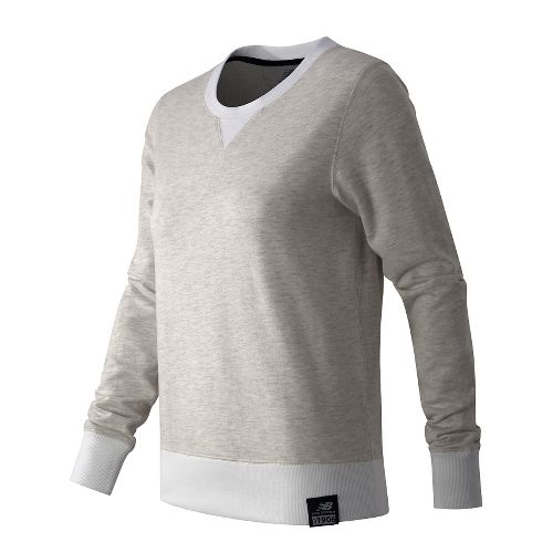 Womens New Balance Crewneck Sweater Hoodie & Sweatshirts Technical Tops - Sea Salt Heather XS ...