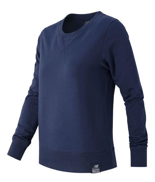 Womens New Balance Crewneck Sweater Hoodie & Sweatshirts Technical Tops - Navy XS