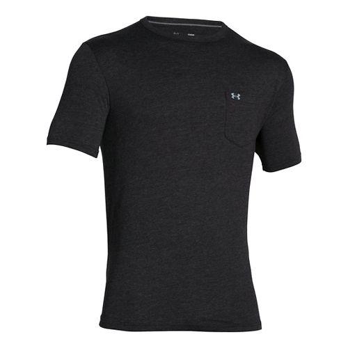 Mens Under Armour Tri-blend Pocket T Short Sleeve Technical Tops - Asphalt Heather L-R