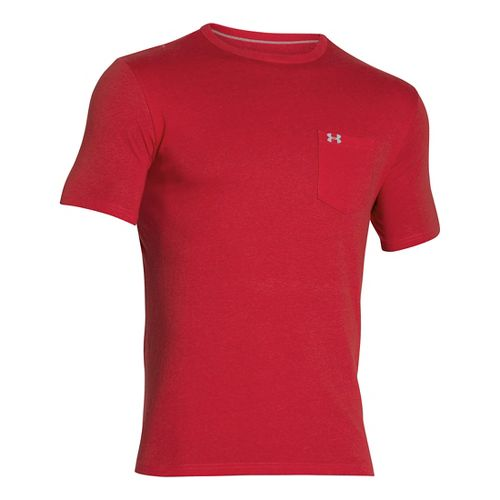 Mens Under Armour Tri-blend Pocket T Short Sleeve Technical Tops - Red 3XL-R