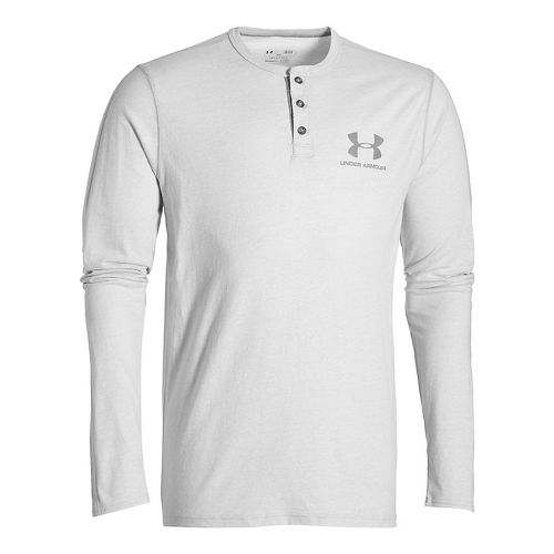 Mens Under Armour Triblend Henley Long Sleeve Technical Tops - Air Force Grey LR