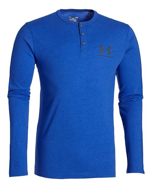 Mens Under Armour Triblend Henley Long Sleeve Technical Tops - Royal LR