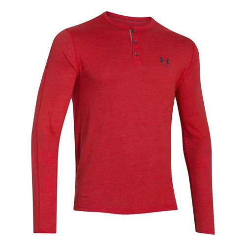 Mens Under Armour Triblend Henley Long Sleeve Technical Tops - Red LR