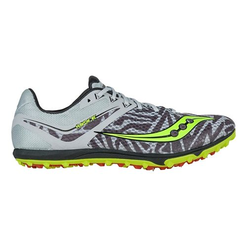 Mens Saucony Havok XC Spike Cross Country Shoe - Silver/Citron 8.5