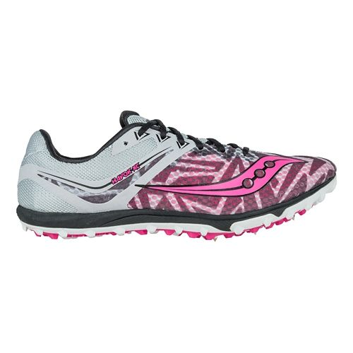 Womens Saucony Havok XC Spike Cross Country Shoe - Silver/Pink 10