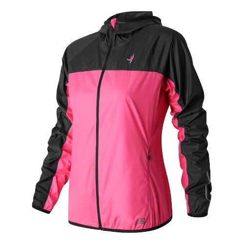 Womens New Balance Windcheater Rain Jackets - Alpha Pink/Black L
