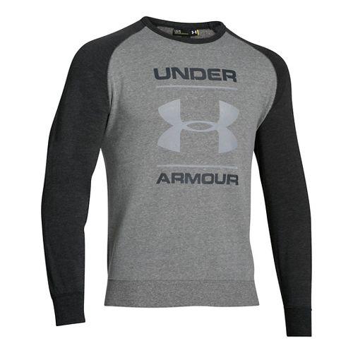 Mens Under Armour Tri-blend Fleece Crew Logo Hoodie & Sweatshirts Technical Tops - Greyhound ...