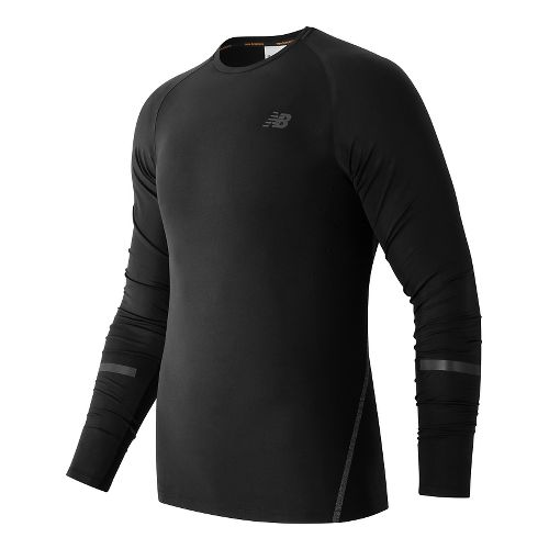 Mens New Balance Trinamic Long Sleeve Technical Tops - Black S