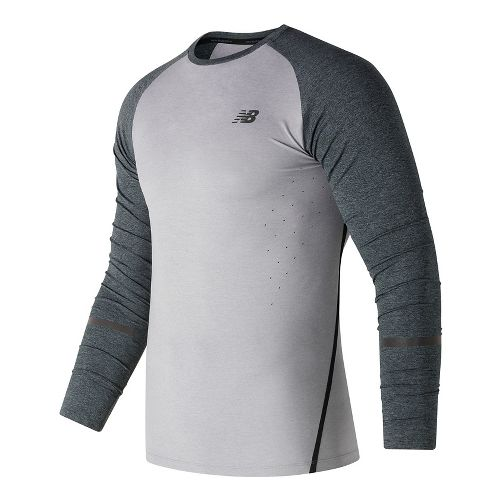 Mens New Balance Trinamic Top Short Sleeve Technical Tops - Athletic Grey M