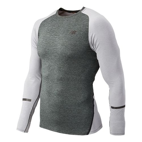 Mens New Balance Trinamic Long Sleeve Technical Tops - Heather Grey L