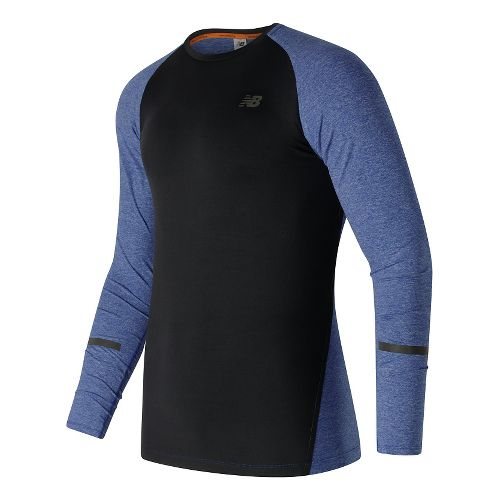 Mens New Balance Trinamic Long Sleeve Technical Tops - Marine Heather XL