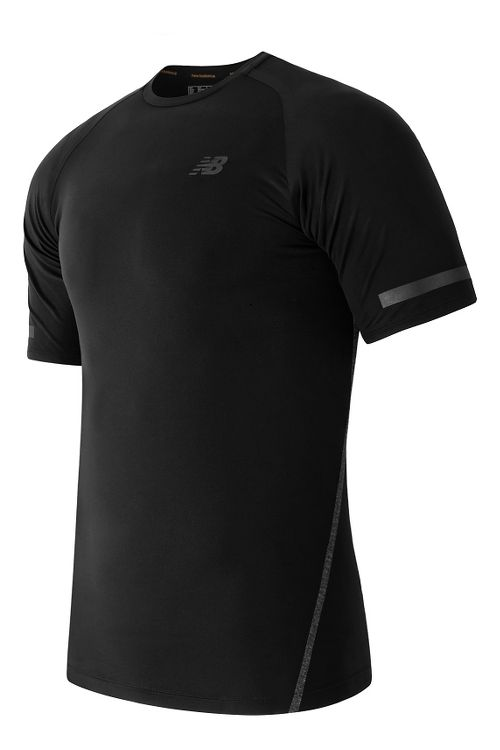 Mens New Balance Trinamic Short Sleeve Top Technical Tops - Black S