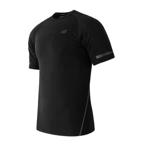 Mens New Balance Trinamic Short Sleeve Top Technical Tops - Black L