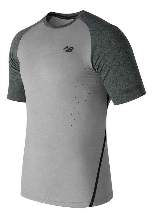 Mens New Balance Trinamic Short Sleeve Top Technical Tops - Athletic Grey L
