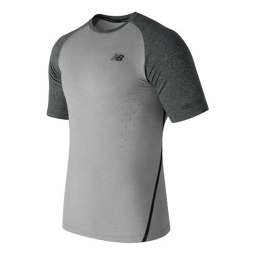 Mens New Balance Trinamic Short Sleeve Top Technical Tops - Athletic Grey S