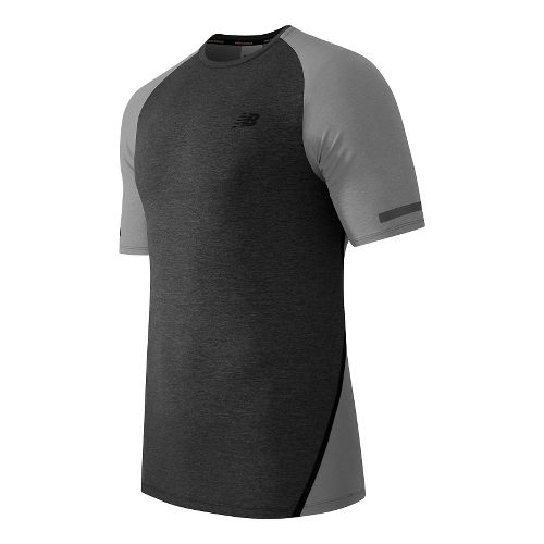 Mens New Balance Trinamic Short Sleeve Top Technical Tops - Heather Grey XL