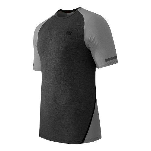 Mens New Balance Trinamic Short Sleeve Top Technical Tops - Heather Grey XL