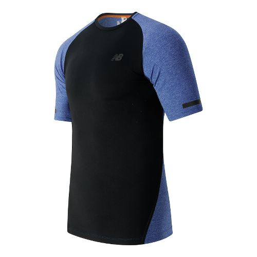 Mens New Balance Trinamic Short Sleeve Top Technical Tops - Marine Heather S