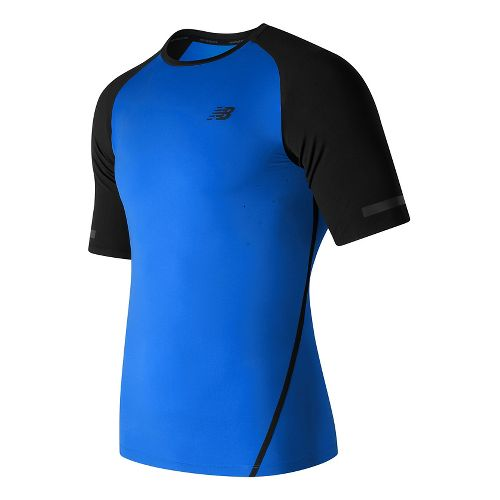 Mens New Balance Trinamic Short Sleeve Top Technical Tops - Electric Blue L