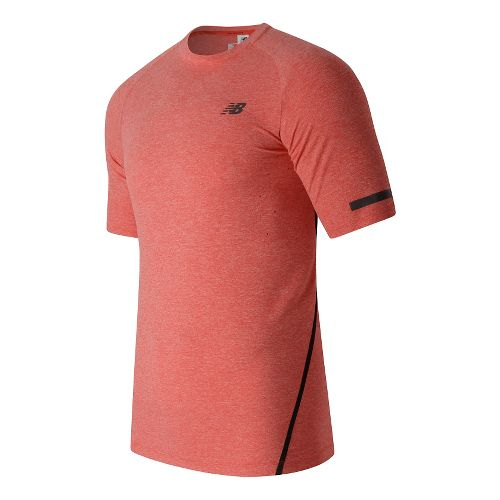 Mens New Balance Trinamic Short Sleeve Top Technical Tops - Atomic Heather L