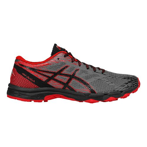 Mens ASICS GEL-FujiLyte Trail Running Shoe - Carbon/Vermilion 10
