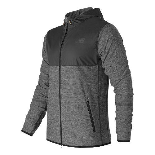 Mens New Balance N Transit Hoodie & Sweatshirts Technical Tops - Black Heather XXL