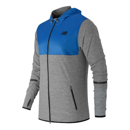 Mens New Balance N Transit Hoodie & Sweatshirts Technical Tops - Heather Grey/Multi S