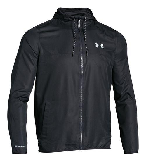 Mens Under Armour Sportstyle Windbreaker Running Jackets - Black/Steel M