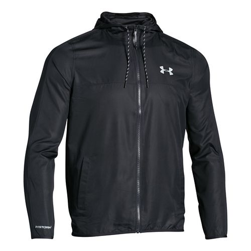 Mens Under Armour Sportstyle Windbreaker Running Jackets - Black/Steel XL