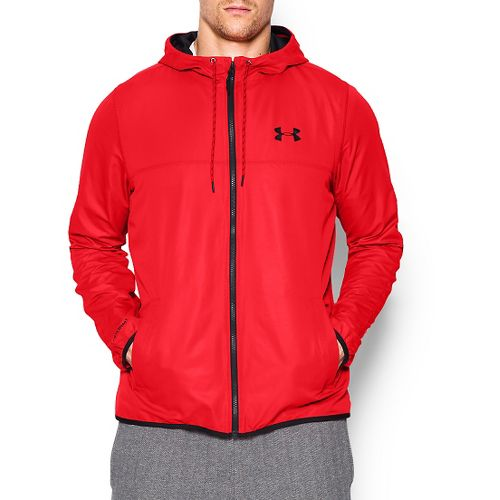 Mens Under Armour Sportstyle Windbreaker Running Jackets - Rocket Red XL