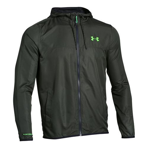 Mens Under Armour Sportstyle Windbreaker Running Jackets - Combat Green L