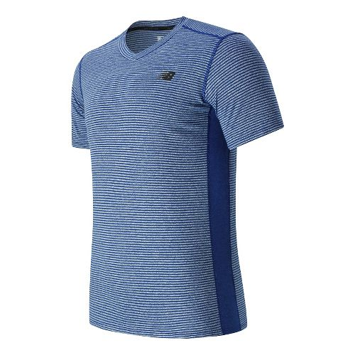 Mens New Balance Striped Sonic Short Sleeve Technical Tops - Marine Blue M