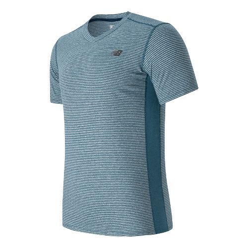 Mens New Balance Striped Sonic Short Sleeve Technical Tops - Riptide L