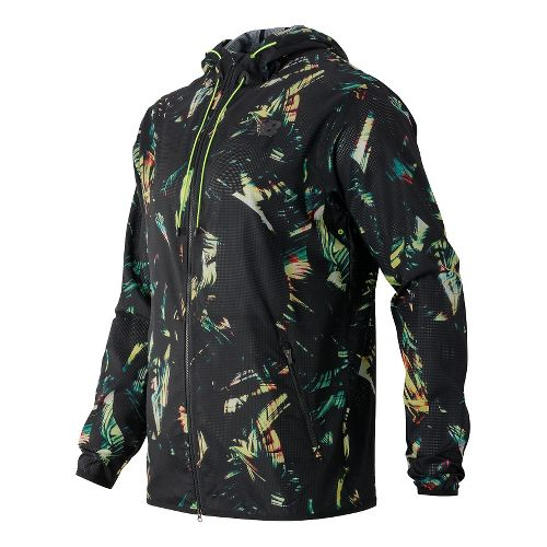 Mens New Balance Windcheater Hybrid Rain Jackets - Palm Print M
