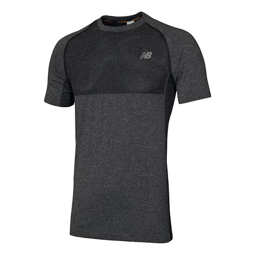 Mens New Balance M4M Seamless Short Sleeve Technical Tops - Black Heather S