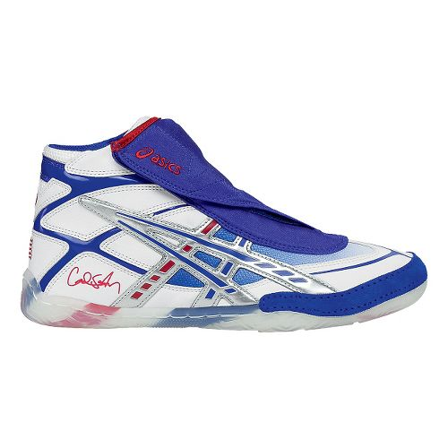 Mens ASICS CAEL Wrestling Shoe - White/Blue 15