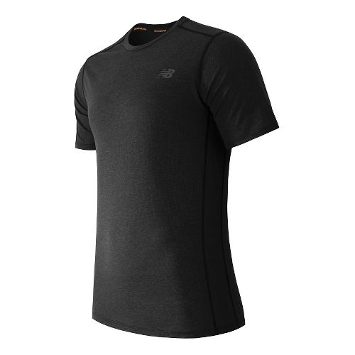 Mens New Balance Pindot Flux Short Sleeve Technical Tops - Black XL