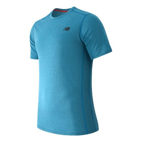 Mens New Balance Pindot Flux Short Sleeve Technical Tops - Barracuda M