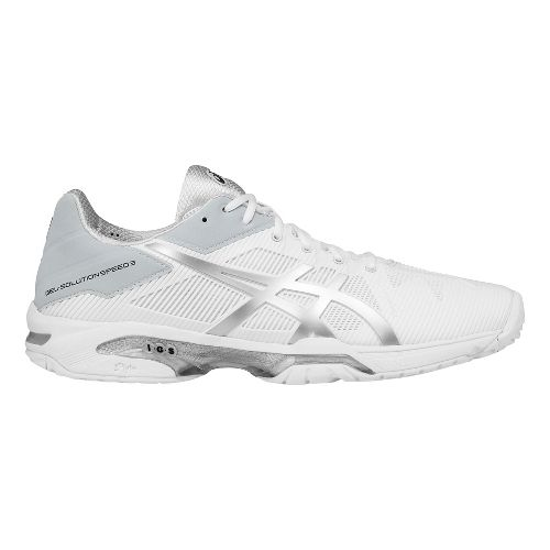 Mens ASICS GEL-Solution Speed 3 Court Shoe - White/Silver 12.5
