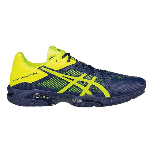 Mens ASICS GEL-Solution Speed 3 Court Shoe - Blue/Yellow 9.5