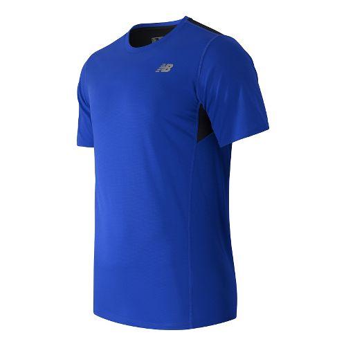 Mens New Balance Accelerate Short Sleeve Technical Tops - Marine Blue XL