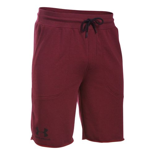 Mens Under Armour Beast Terry Unlined Shorts - Cardinal L