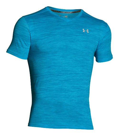 Mens Under Armour Streaker V-Neck T Short Sleeve Technical Tops - Meridian Blue SR