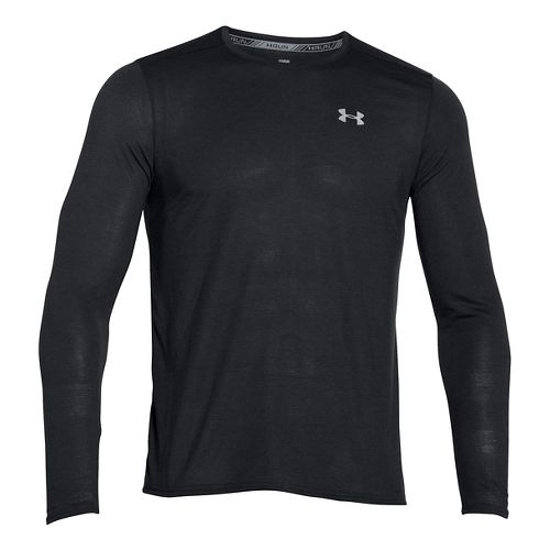 Mens Under Armour Streaker Longsleeve T Long Sleeve Technical Tops - Black MR