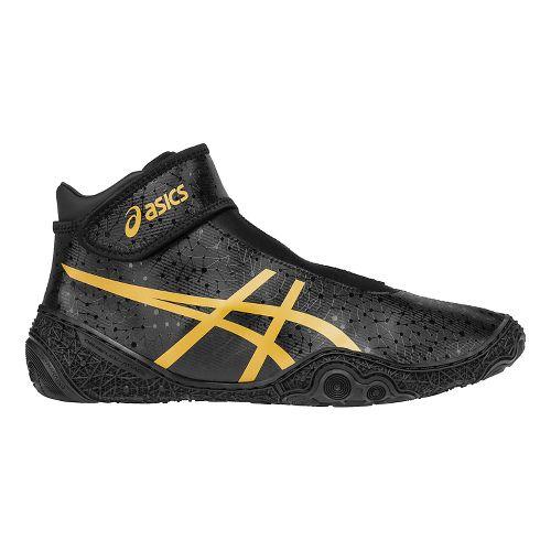 Mens ASICS Omniflex-Attack V2.0 Wrestling Shoe - Black/Gold 10