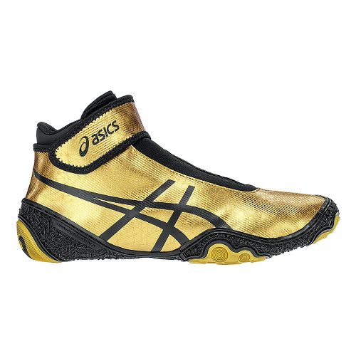 Mens ASICS Omniflex-Attack V2.0 Wrestling Shoe - Gold/Black 7.5