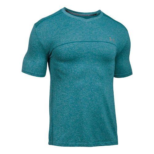 Mens Under Armour Threadborne Seamless Run Short Sleeve Technical Tops - Turquoise Sky M