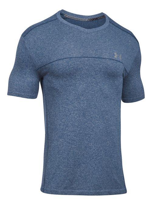 Mens Under Armour Threadborne Seamless Run Short Sleeve Technical Tops - Turquoise Sky XXL